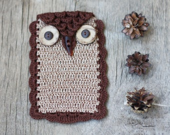 SALE Owl phone case Cell phone cover Crochet accessory Rustic Woodland Gift idea for nature lover