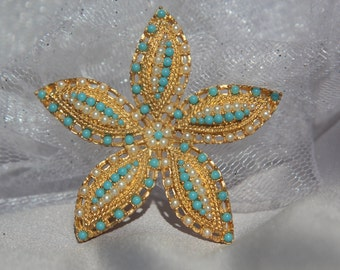 Vintage Golden Starfish Bridal Pearl & Turquoise Brooch/Haircomb, Bridal Hair Accessories, Beach Wedding