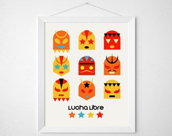 Luchador Mask poster - colorful print wall decor art - sugar skull mexican mexico home casa colorful modern nursery sign wrestler fight art