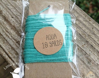 10 Yards - Solid  Baker's  Twine / String • 100% Cotton • Eco Friendly • Gift Wrap • Bakery String  • Aqua