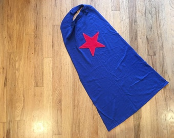 Kids Super Hero Cape - Blue with Red Star