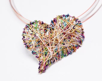 Purple heart necklace Heart jewelry Wire heart sculpture art necklace Delicate heart necklace charm Mothers day gift Unusual jewelry Modern