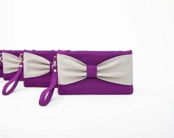 Sale-Bridesmaid clutches,purpel,plum,silver grey bow wristlet clutch,bridesmaid gift,clutch,set of 1,2,3,4,5,6,7,8,9,10,11,12,piece 9.90 USD