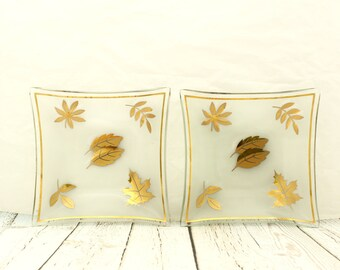 Golden Foliage Plates by Libbey, Frosted Glass Plates, Frosted and Gold Libbey Plates, Golden Foliage Square Plates by Libbey,
