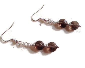 Brown Earrings - Smoky Quartz Jewelry - Sterling Silver Jewellery - Beaded - Fashion - Chic - Gemstone
