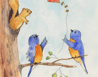 Bluebirds Flying a Kite 8 x10 Print of Watercolor Painting,whimsical,nursery art,animal,nature,pen and ink,watercolor,bird lover