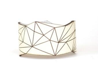 leather cuff bracelet - Slim Geometric Triangle Cuff in Cream Leather with Snaps - modern design, laser cut SALE
