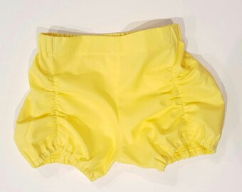 Yellow Ruched Shorts