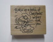 Wood Mounted Rubber Stamp - Fluffles Baking V101 - Stampendous
