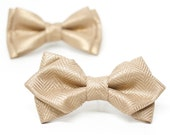 Gold Metallic Herringbone Linen Bow Tie for all ages- pre tied bowtie, wedding, ring bearer, ushers, church, photo prop, holiday gift
