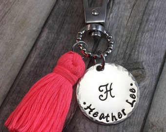 Monogram zipper pull with tassel personalized, back to school