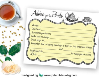 Printable Bridal Shower Mad Libs, Tea Party Advice for the Bride Cards, Yellow Bridal Shower Game DIGITAL DOWNLOAD by Event Printables