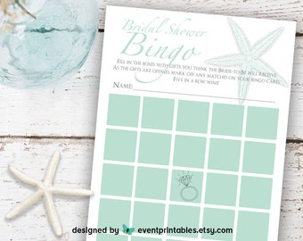 Bridal Shower Bingo Game, Mint Green Starfish Beach Wedding Bingo, Bridal Shower Bingo, Printable Digital File by Event Printables