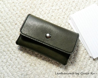 """100% hand stitched olive green cowhide leather 4"""" x 6"""", 3""""x 5"""" index cards, 2"""" x 3.5"""", 2.5""""x2.5"""" business cards, credit cards holder"""