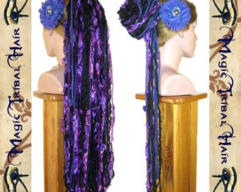 "YARN HAIR FALLS ""Purple Passion Glamour"" Tribal Fusion hair falls Gothic Belly Dance hair extension Goth hair piece Boho fantasy yarn falls"