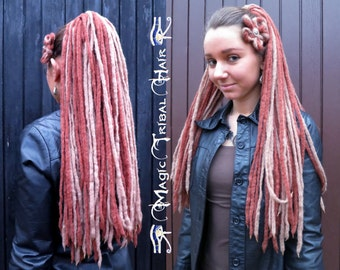STEAMPUNK DREAD FALLS Blonde Brown Highlight Dreadlocks Cosplay wicca hair piece Tribal Fusion belly dance yarn dreads Renfaire hairpiece