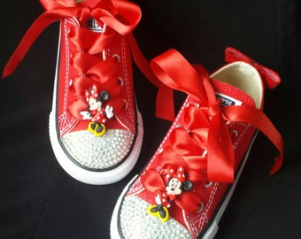 Minnie Mouse Shoes, Red Converse, Satin Ribbon Ties