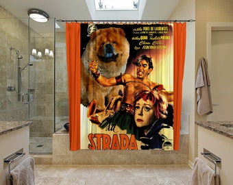 Chow Chow Art Shower Curtain, Dog Shower Curtains, Bathroom Decor - La Strada Movie Poster  Perfect CHRISTMAS Gift SALE 25 off Free Shipping