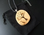 Natural Oak Tree Branch Pendant. Embellished with A Tree.