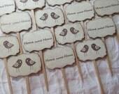 Set of 12 Double-Sided Love Bird ~ Home Sweet Home ~Cupcake Picks ~ Food Picks ~ Housewarming ~ New Home ~ Open House