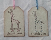 Set Of 12 Giraffe Thank You Tags - Baby Shower Favor Tag