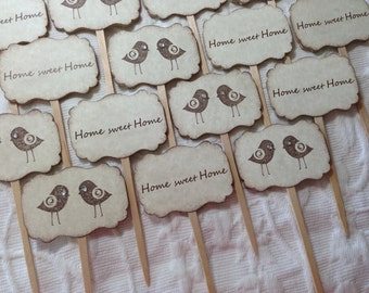 Home Sweet Home Cupcake Picks ~ Love Bird Cupcake Toppers ~ Housewarming ~ New Home ~ Open House