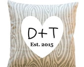 SALE Personalized Pillow- Tree Initials Home Decor- Wedding Gift- 16x16 Zippered Cushion Cover- Choose Color- Grey Woodgrain Anniversary