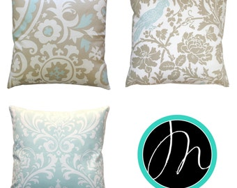 Sofa Pillows, Light Blue Pillow Cover, Blue Throw Pillows, Powder Blue Cushion Cover, Decorative Pillow, Damask Pillow, Bedroom Decor