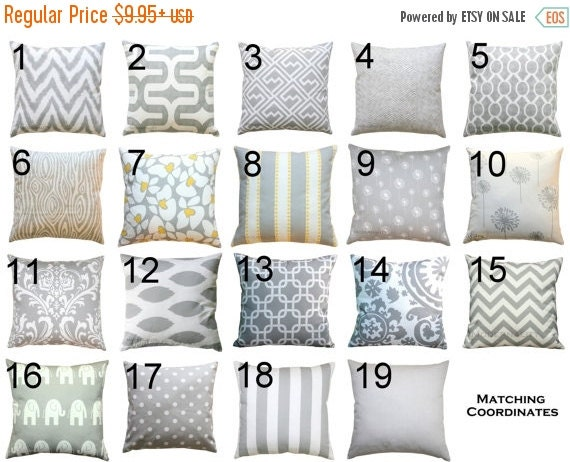 SALE Lumbar Pillows- Premier Prints Storm Grey Pillow Cover- 12x16 12x18 inches- Zippered Pillow- Pillow Case- Cushion Cover- Throw Pillows