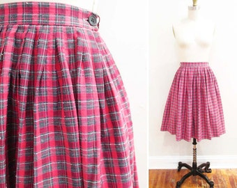Vintage 1950s Skirt | Pink Plaid Cotton 1950s Full Skirt | size small