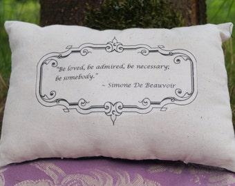 Simone De Beauvoir Miniature Throw Pillow Cushion