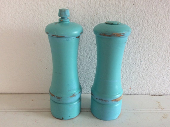 Reserved For Kristi. Wood Pepper Mill And Salt Shaker - Shabby Cottage Beach Decor - Turquoise Aqua - Coastal - Wooden - Turquoise Kitchen -