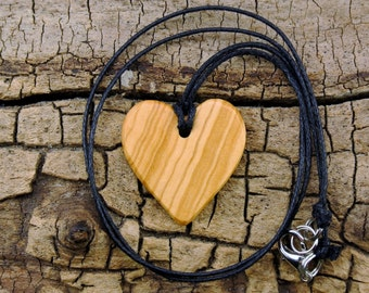 WOOD Necklace - Olivewood - Wooden Heart Necklace - Wood Heart - Heart Necklace - Valentine's Day