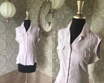Women's Vintage 1940's 50's Purple Sleeveless Pearl Snap Western Style Shirt M