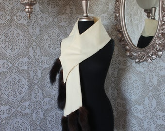 Vintage 1950's 60's Cream Scarf Wrap with Mink Tails