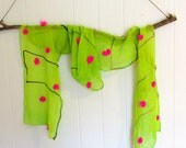 Chartreuse silk scarf with hot pink wool pom poms