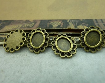 50 pcs 6x8mm Antique Bronze  Cameo Cabochon Base Setting Tray Blanks Pendants Charm Pendant C6221