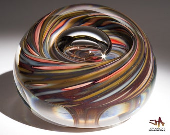 Small Hand Blown Glass Paperweight - Earthy Stone Color Swirls with Bubble