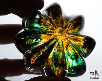 Handcrafted Glass Paperweight - Ribbed Clear Crystal with Green and Amber Core