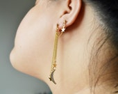Gold Crescent Moon and Stars Double Pierce Cartilage Earrings (Pair)