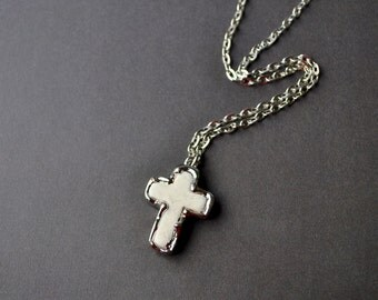 Silver Encrusted White Howlite Stone Cross Necklace