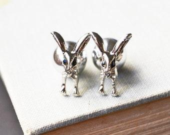 Silver Rabbit Ear Jacket Earrings