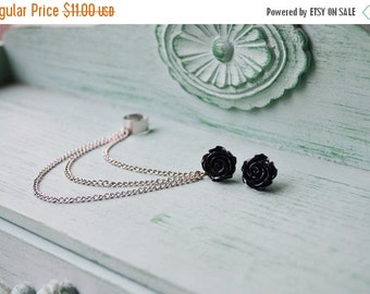 VALENTINES DAY SALE Black Rose Bloom Silver Ear Cuff (Pair)