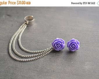VALENTINES DAY SALE Purple Rose Chain Ear Cuff (Pair)