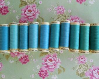 Gutermann sew-all Thread 10 Spools Assorted Blue