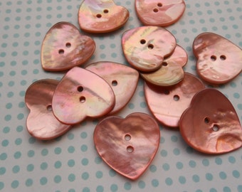 Mother of Pearl Buttons Pink heart 6 pcs