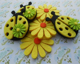 Felt Flowers and Ladybugs Yellow 6 pcs.