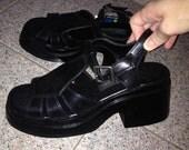vintage 90s black t strap mary jane ankle strap platform 8 8.5 creeper grunge raver shop jeen