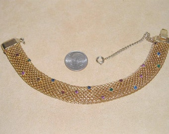 Vintage Mesh Rhinestone Bracelet 1960's Jewelry 2057