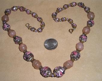 Vintage Millefiori Wedding Cake Beaded Glass Necklace Choker 1930's Jewelry 2226